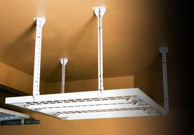 Diy metal overhead storage racks by slide lok of spokane garage overhead storage solutioingenieria Image collections